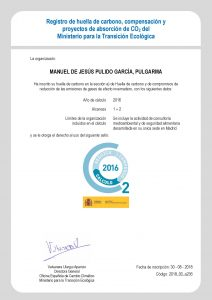 Certificado inscripción Huella CO2